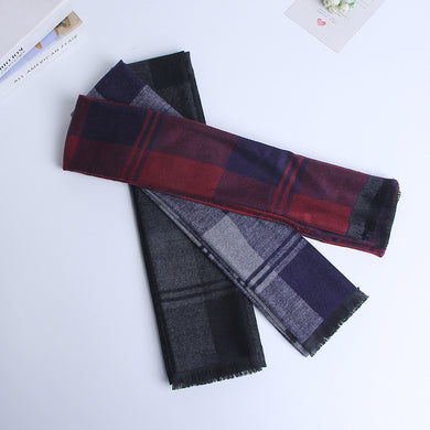 Dark Color Blocks Men's Classic Synthetic Wool Scarves