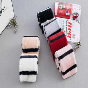Women Cross-Scarf Fake Rabbit Hair Scarf Stripe Thick Warming Scarf