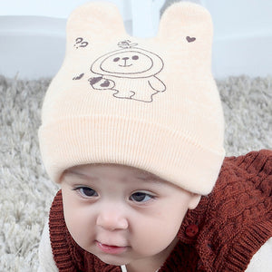 Baby Hat Qiu Dong New South Korean Cartoon Printed Children's Wool Hat
