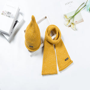 Solid Color Acrylic Fiber Children Scarf with Color Matching Beanies