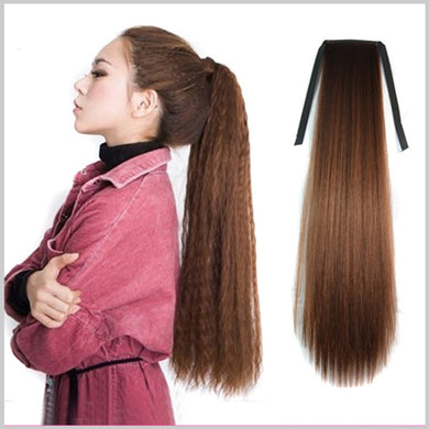 Bushed Out Perm Long Ribbon Tied Clip-in Hair Extension