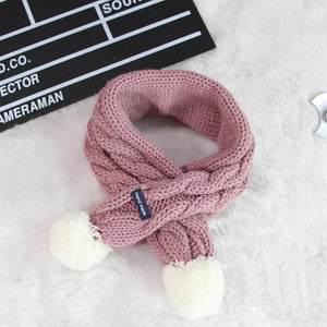 Big Braid Solid Color Kid's Winter Warm Keeping Scarves with Snowball Ends