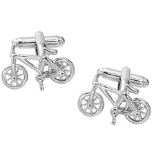 Bicycle Design Silvery Cute Cuff Links