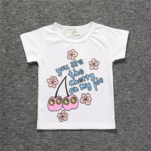Boys' Baby Clothing Summer Top T Shirt Cotton Short Sleeve Baby Girl Summer Clothes Girls Clothing Cherry Letter