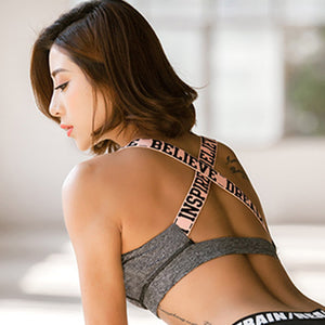 Women Believe Letter Print Gym Fitness Bras Cross Back Sports Bra Push Up Shockproof Running Vest Cropped Sport Top