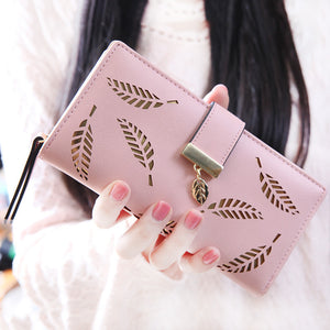 Hot Style Lady's Purse Zipper Long Style Pu Foreign Trade Korean Version Hollowed-Out Leaf Holding Purse