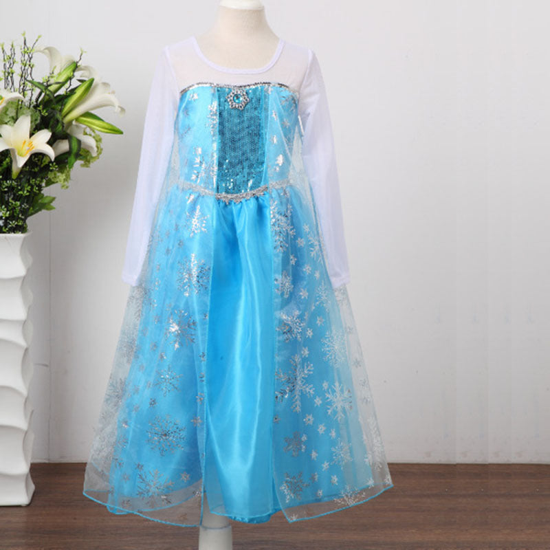 Girls' Sequined Princess Elsa Costumes Fancy Party Dress