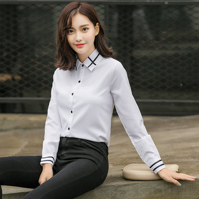 Fashion Women Elegant Bow Tie White Blouses Chiffon Casual Shirt Office Ladies Tops School Blusas Female Clothing