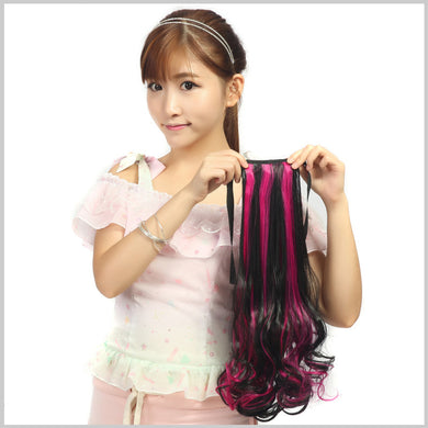 Loose Digital Perm Double Colors Clip-in Pony Hair Extension