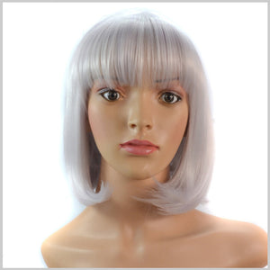 Grey Short Wigs Students Ladies Fashion Wigs
