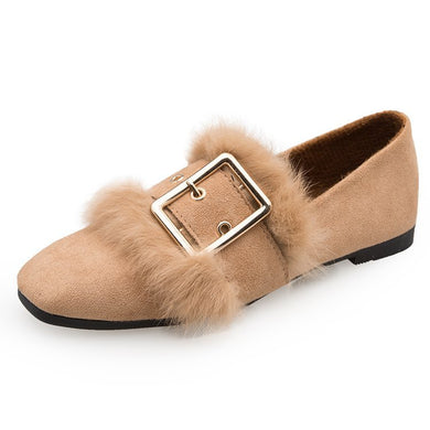 Autumn Square-toe Rabbit Hair Flat Shoes
