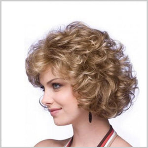 Premium Golden Short Curly Wigs