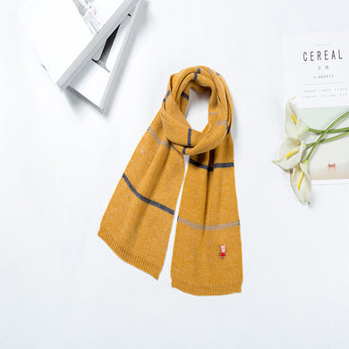 Classic Fashion Pinstripe Pattern Children Scarf with Ribbed Hems