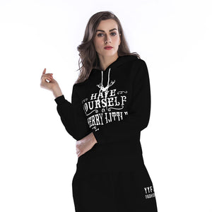 Solid Color Christmas Letters Pattern Women's Hoodies