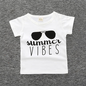 Summer Cotton New Baby Girl White T Shirt Infant Clothes Girls Cute Eyes Printed T-shirt Peter Pan Tee Girl Tops Tee Toddle