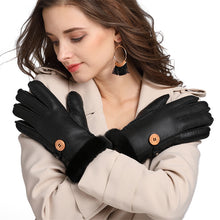 Button Cuffed Detail Solid Color Synthetic Leather Gloves