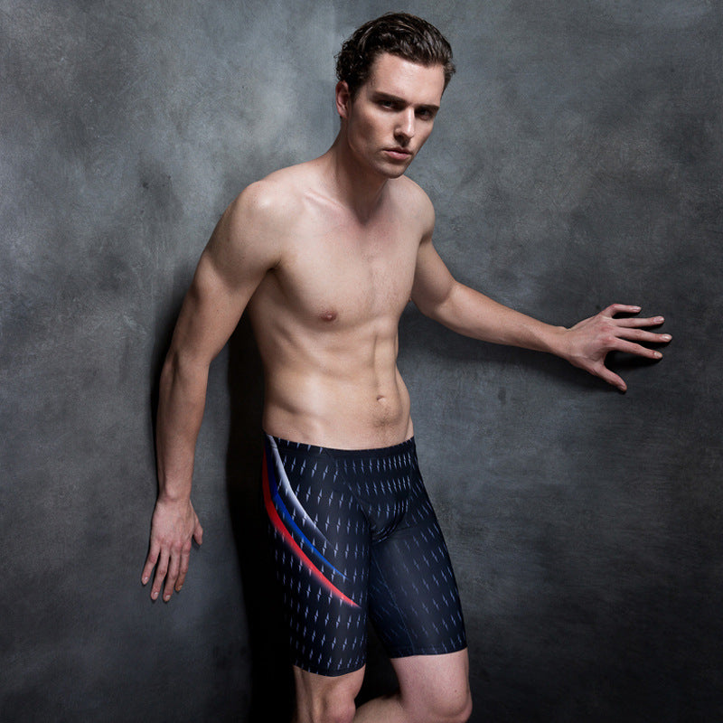 New Swimsuit Printed Pattern Men's Swimsuit Tight Racing Swimwear