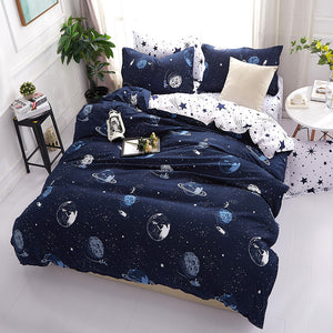 Planets Pattern Night-Sky Blue Soft and Luxury Beddings Set