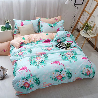Flamingo Pattern Cyan Soft and Luxury Beddings Set