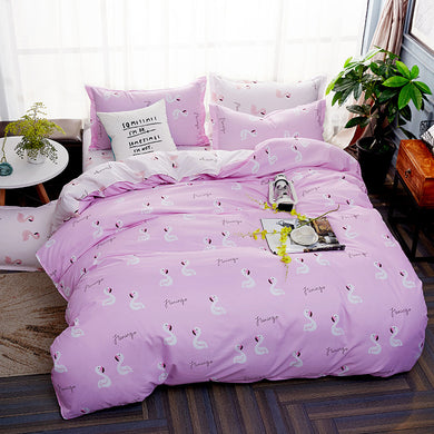 Cartoon Swan Pattern Pink Soft and Luxury Beddings Set