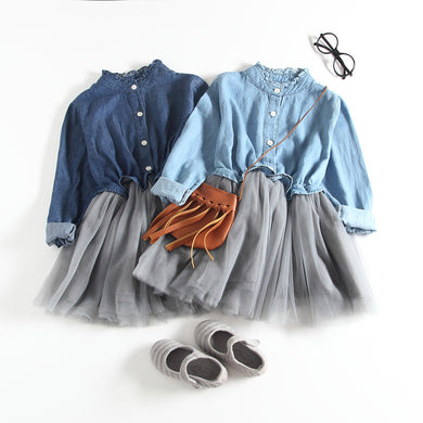 Joint Denim and Lace Long Sleeves Fashion Girl's One-piece Dress
