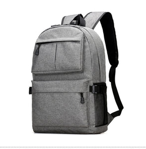 Solid Color Multiple Functions Laptop Backpack with External USB Port