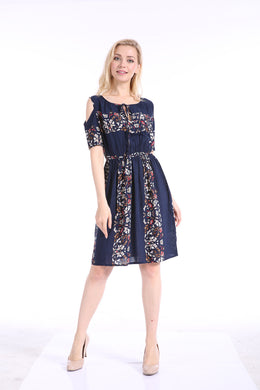 Women Casual Cut Shoulder Short Sleeve Floral Print Dress