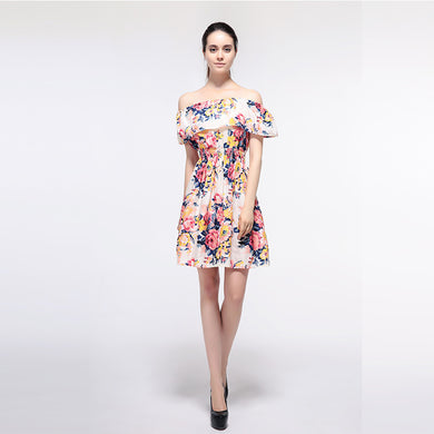 Women Casual Ruffle Off Shoulder Floral Print High Waist Dress