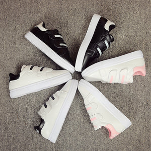 Contrast Color Velcro Closure Round Tip Casual Shoes