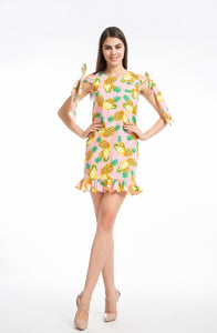 Women Casual Ruffle Bowknot Sleeveless Pineapple Printed Mini Dress