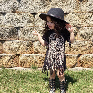 Girls Short Sleeve Summer Printed Ethnic Style Pattern Tassel Dress Cotton Dresses Kids Princess Children Clothing Dresses