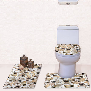 3Pcs/set 3D Animal Pattern Bath Mat Set HD Printing Flannel Absorbent Bathroom Floor Mat Toilet Rug and Cover