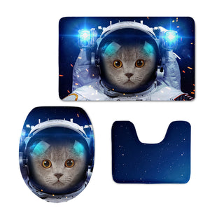 Outer Space Cat Creative Bathroom Absorbent Mats Non-slip Toilet Rugs Soft Flannel Bath Mat Set 3Pcs