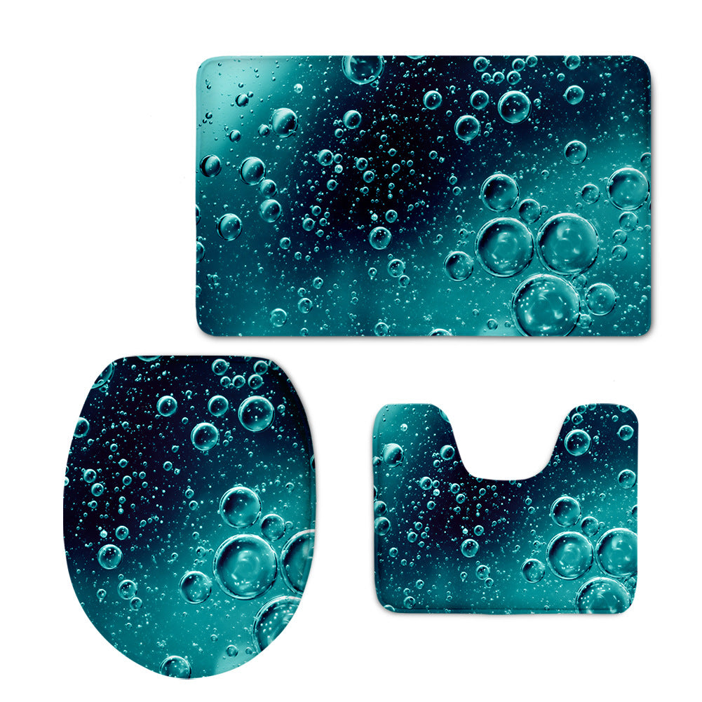 Ice and Fire Dreamlike Gorgeous Bathroom Toilet Mats Set Super Soft Decorative Bath Mat Rug