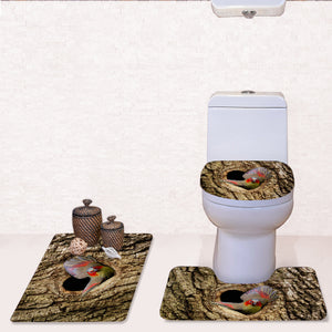 3D Animal Pattern Toilet Mat 3 Piece Bathroom Mats and Rugs Thick Flannel Bathroom Rug Non-slip Bath Mat Set