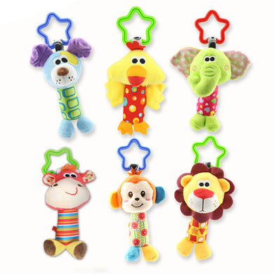 NEW Arriving 14cm Dog Cattle Bird Baby Toys Rattles mobile Cartoon Animal Plush Toys Hanging Educational Infant and Kid toy