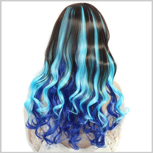 Blue Gradient Long Curly Wigs Cosplay Wigs