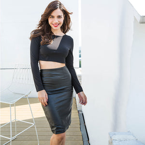 2 Piece Dress Set Women Black Sexy Sets Long Sleeve Backless Crop Top Slim PU Leather Mid Skirts Suit