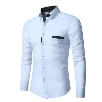 Bar Detailed Breast Pocket Long Sleeves Men's Business Shirt