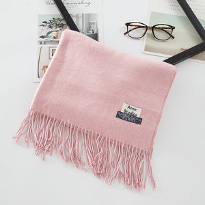 Solid Color Men's Scarves with Double Fringes Ends