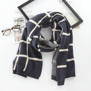 Synthetic Wool Ribbed Hems Men's Scarves