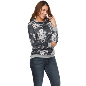 New Arrival Winter Hooded Ribbed Cuff Floral Printing Sweatshirt