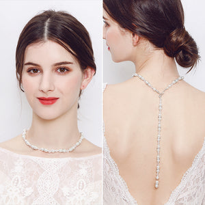 Y Droplet Pearls Tassel Backdrop Necklace Body Chain Wedding Jewelry
