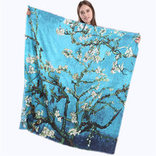 Flowers Pattern Printed Square Silk Scarf