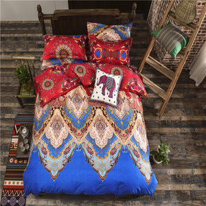 Sapphire and Red Colors Floral Pattern Soft and Luxury Beddings Set