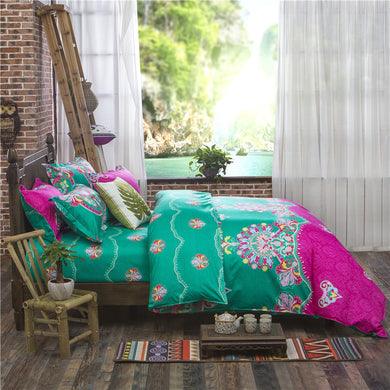 Rose Pink and Green Colors Ethnic Style Soft and Luxury Beddings Set