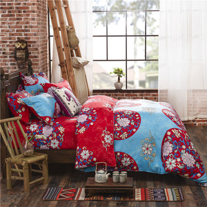 Red and Blue Flowers Pattern Soft and Luxury Beddings Set