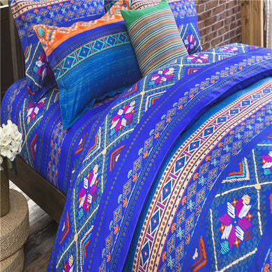 Deep Blue Color Flowers Pattern Soft and Luxury Beddings Set
