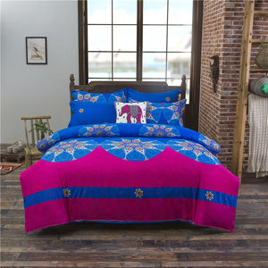Thailand Style Rose Pink and Sapphire Color Soft and Luxury Beddings Set