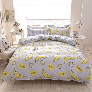 Cartoon Banana Pattern Soft and Luxury Beddings Set